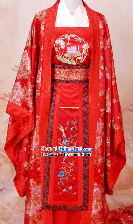 Tang Dynasty Embroidered Wedding Dress Complete Set for Brides