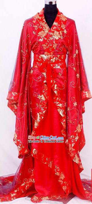 Ancient Chinese Bride Wedding Wear with Long Tail