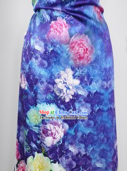 Chinese Blue Rose Silk Fabric