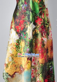 Chinese Silk Flower Fabric