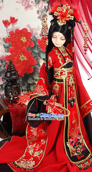 Ancient Chinese BJD Costumes Princess Wedding Dress and Hair Accessories Complete Set