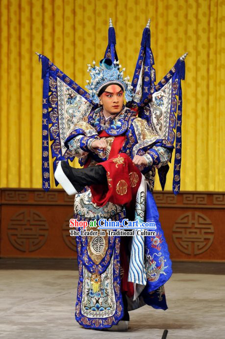 Peking Opera Wu Sheng Armor Costume and Hat and Flags