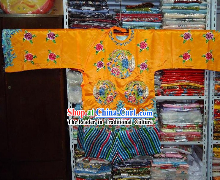 Chinese Opera Phoenix Embroidered Wedding Robe for Women