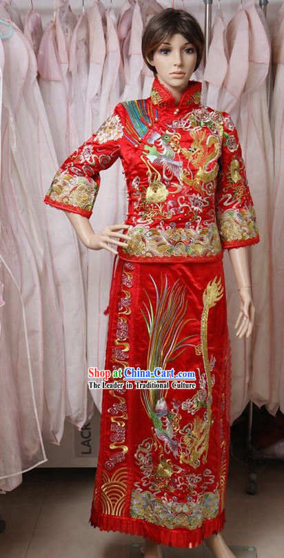 Traditional Chinese Lucky Red Wedding Dress