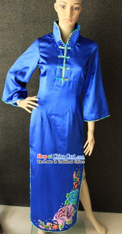 Chinese Folk Blue Dance Costumes
