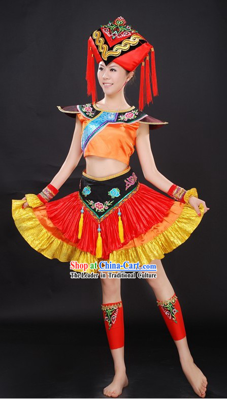 Chinese Ethnic Minorities Clothing and Hat Set