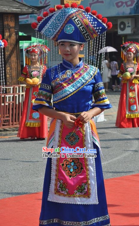 Chinese Ethnic Minorities Female Clothing and Hat