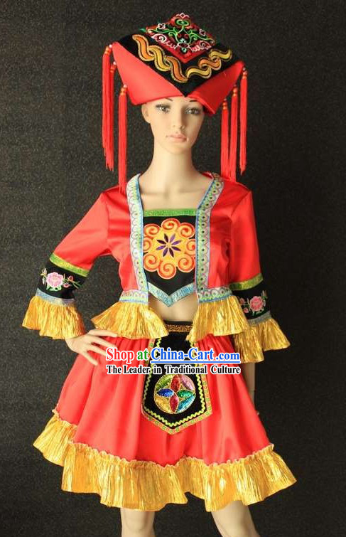 Traditional Chinese Zhuang Ethnic Clothing and Hat