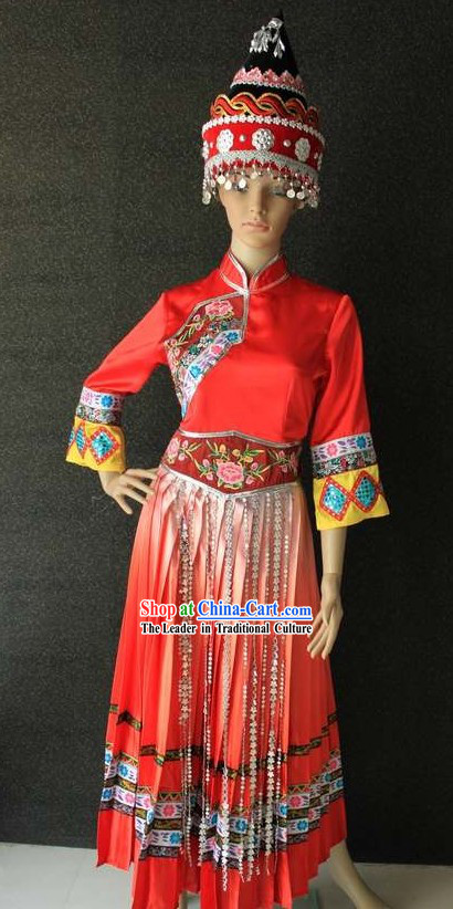 Traditional Chinese Minority Clothing and Hat for Women