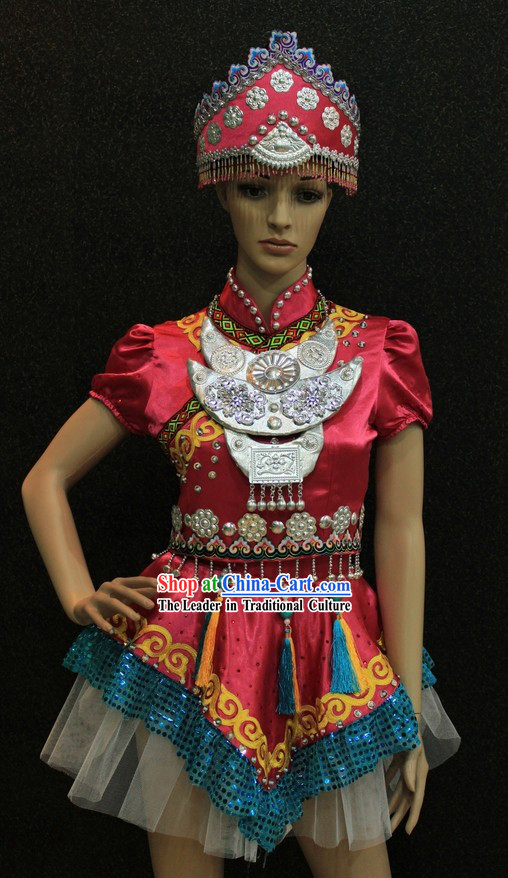 Traditional Chinese Ethnic Minority Clothing and Hat for Women