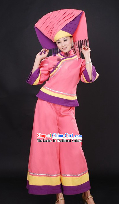 Chinese Stage Performance Dance Costumes and Hat for Women