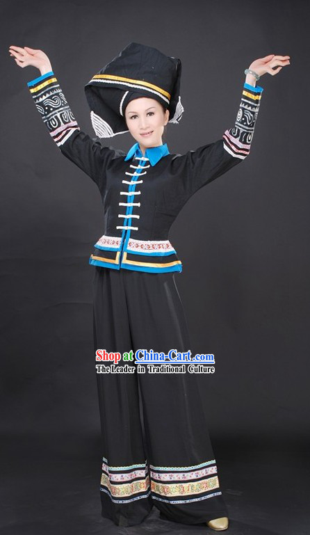 Chinese Stage Performance Dance Costumes and Hat Complete Set for Women