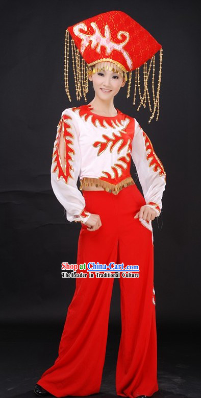 Traditional Chinese Ethnic Dance Costumes and Hat