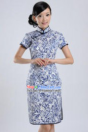 Chinese Classic Blue Flower Qipao
