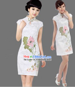 Chinese White Lotus Qipao