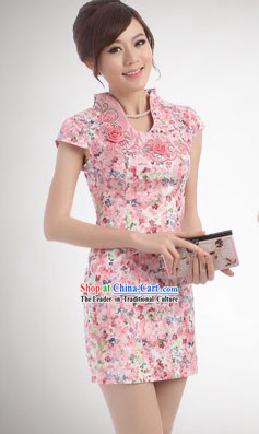 Chinese Classic Pink Flower Short Qipao