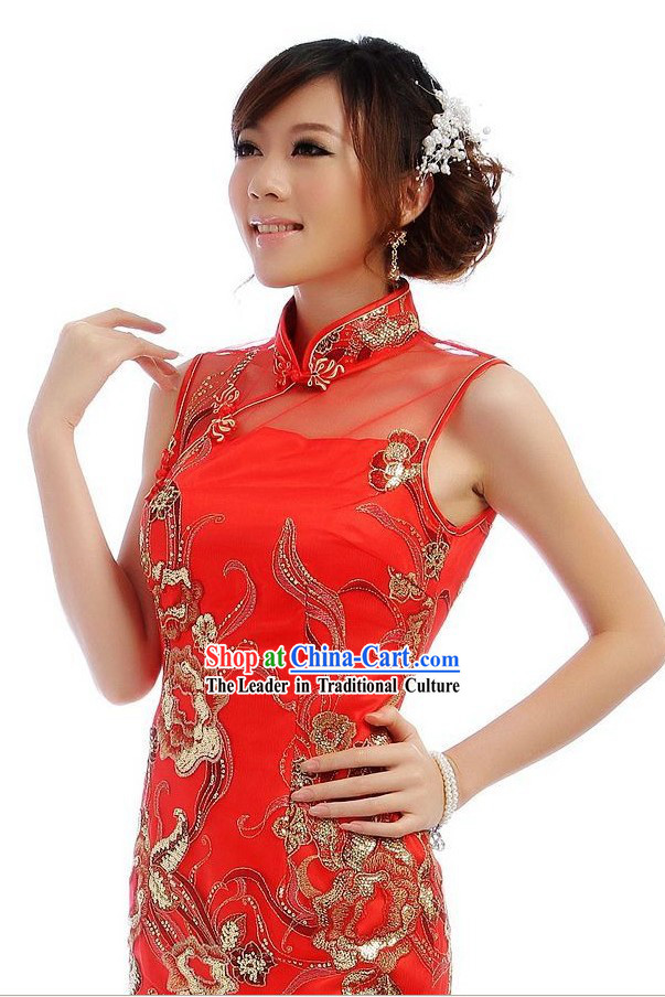 Chinese Classical Long Red Golden Flower Wedding Cheongsam