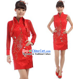 Chinese Classical Red Golden Flower Cheongsam Set
