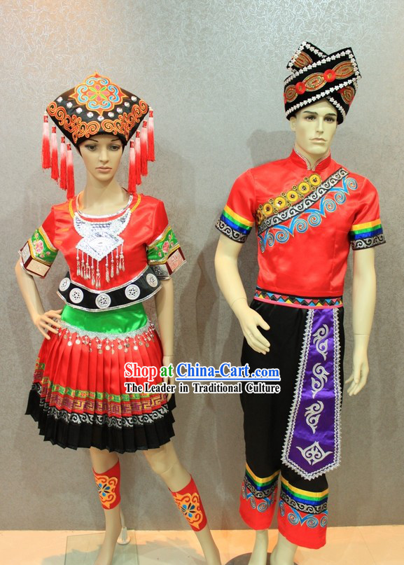 Traditional Chinese Ethnic Wedding Dress 2 Sets for Men and Women