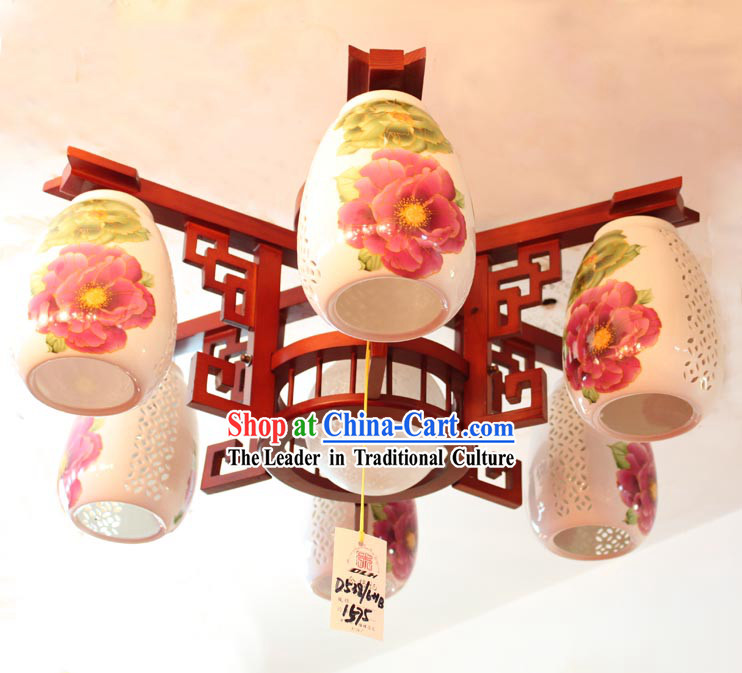 Traditional Chinese Wooden Ceramics Lanterns Set