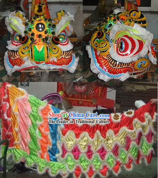 Top FUT SAN Liu Bei Lion Dance Head and Costume Complete Set