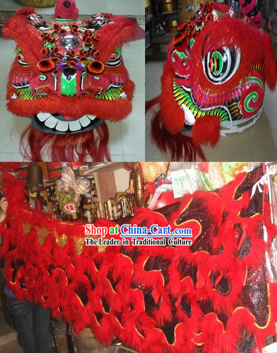 Red Business Opening Ceremony Guan Yu Lion Dance Costume Complete Set