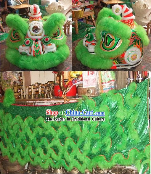 Supreme Green Long Wool Lion Dance Clothes Complete Set