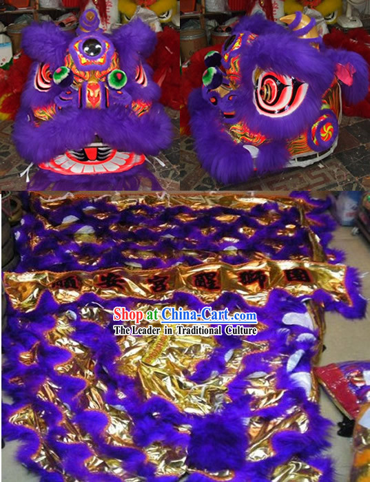 Purple Long Wool Lion Dance Costume Complete Set
