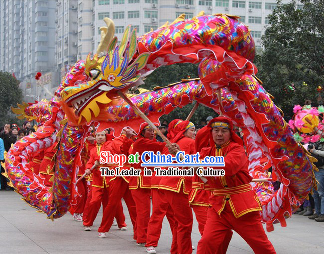 Red Rainbow Competition and Parade Dragon Dance Costumes Complete Set