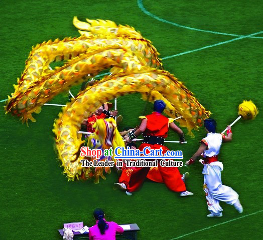 Lightweight Golden Net Dragon Dance Costume Complete Set