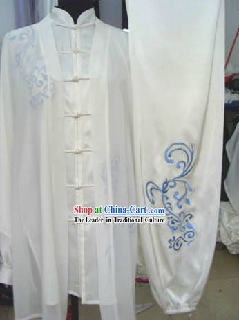 Traditional Chinese Silk Embroidered Flower Tai Chi Competition Clothing Set