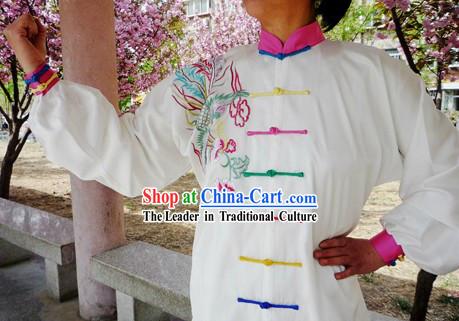 Chinese Silk Embroidered Phoenix Tai Chi Suit