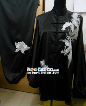 Chinese Embroidered Phoenix Black Silk Kung Fu Dress
