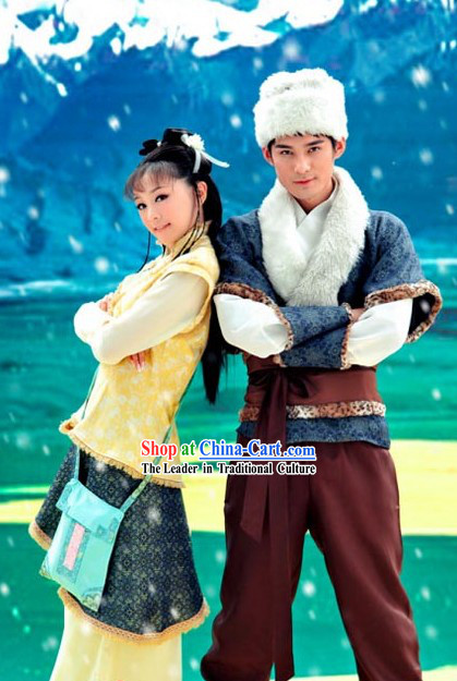 Ancient Chinese Husband and Wife Kung Fu Costumes 2 Complete Sets