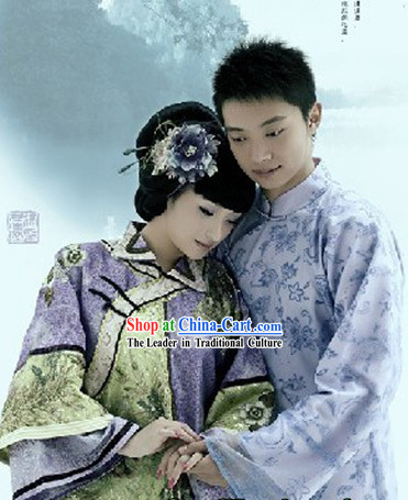 Chinese Minguo Period Clothing 2 Sets for Men and Women