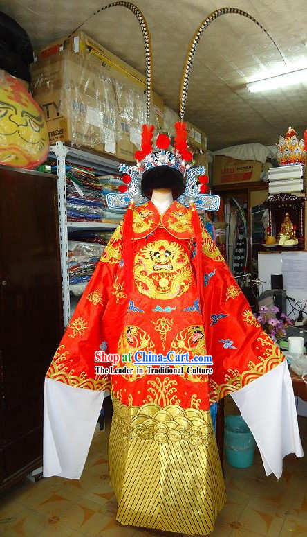 Peking Opera Male Dragon Costume with Long Feathers Headpiece