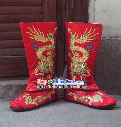 Traditional Embroidered Dragon Hanfu Wedding Boots