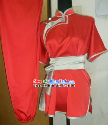 Traditional Chinese Red Silk Wu Shu Uniform