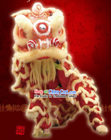 Top Red Celebration and Parade Long Wool Chinese Lion Dance Costumes Complete Set