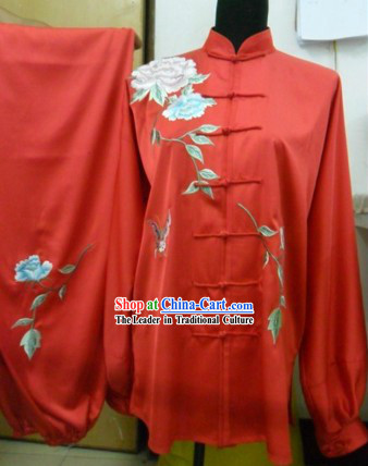 Traditional Chinese Red Flower Silk Wushu Clothing