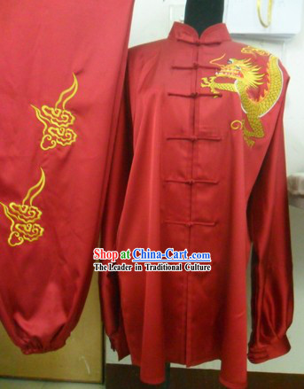 Traditional Chinese Red Dragon Silk Wushu Clothing for Men