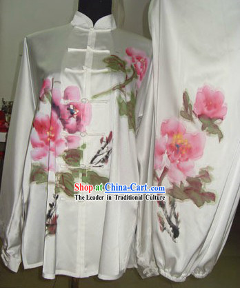 Traditional Chinese Silk Hands Painted Peony Kung Fu Uniform