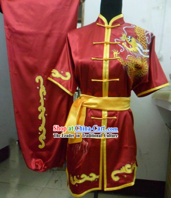 Chinese Red Dragon Kung Fu Competition Uniform