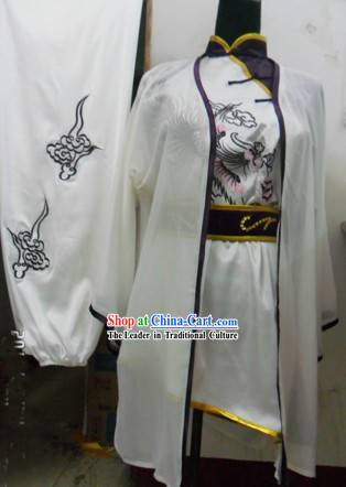 Chinese Silk Dragon Kung Fu Coach Uniform and Veil for Women