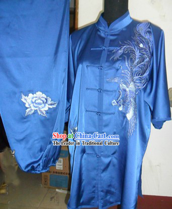 Chinese Short Sleeve Silk Phoenix Wushu Uniform