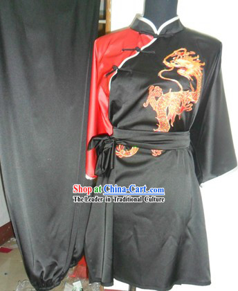 Chinese Long Fist Changquan Embroidered Dragon Silk Kung Fu Clothes