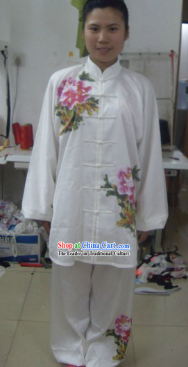 Chinese Embroidered Flower Silk Wushu Costumes Set