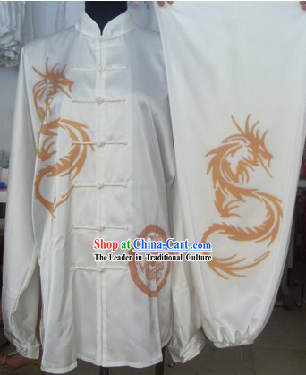 Chinese Hand Painted Dragon Silk Wushu Costumes Set for Men