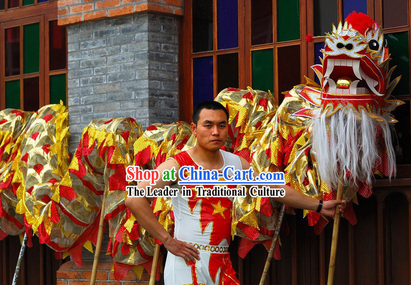 Traditional Red Dragon Dance Costumes Complete Set