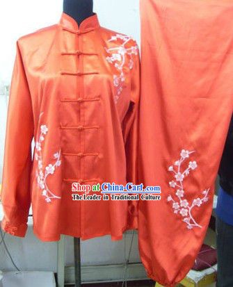 Chinese Silk Embroidered Red Kung Fu Uniform